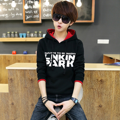 青少年14岁16秋装外套连帽加绒加厚卫衣男套头韩版潮学生男士帽衫