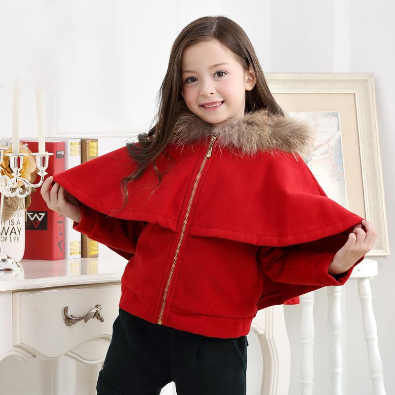 艾尼小猪2016秋冬新款 女童加厚连帽斗篷外套 儿童羊羔绒披肩外套