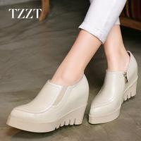 新款2015春秋真皮坡跟单鞋皮鞋厚底内增高女鞋尖头高跟鞋松糕鞋