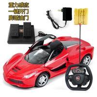 儿童仿真模型法拉利遥控车玩具充电方向盘一键开门带脚踏重力感应