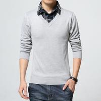 秋冬季男针织衫加大码青年套头假2件韩版衬衫领男士毛衣直筒修身
