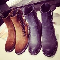 欧美秋冬款磨砂牛翻皮中筒靴侧绑带时尚女靴子圆头真皮坡跟马丁靴