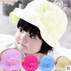 女宝宝帽子0-1-2岁夏季新款盆帽公主帽婴儿帽子防晒遮阳帽太阳帽
