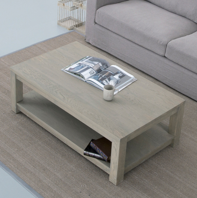 HC European vintage weathered gray oak shelf Founder simple rectangle 1.2 meters 1.4 meters coffee table coffee table