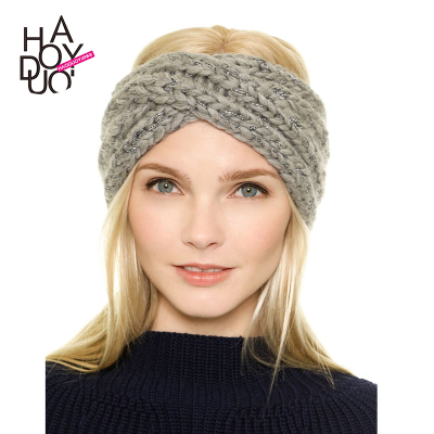 European and American glossy metallic strands soft knit hat with ear Chantou haoduoyi