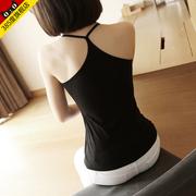 女士棉小吊带背心外穿春季性感短款宽松无袖黑白色打底衫夏季