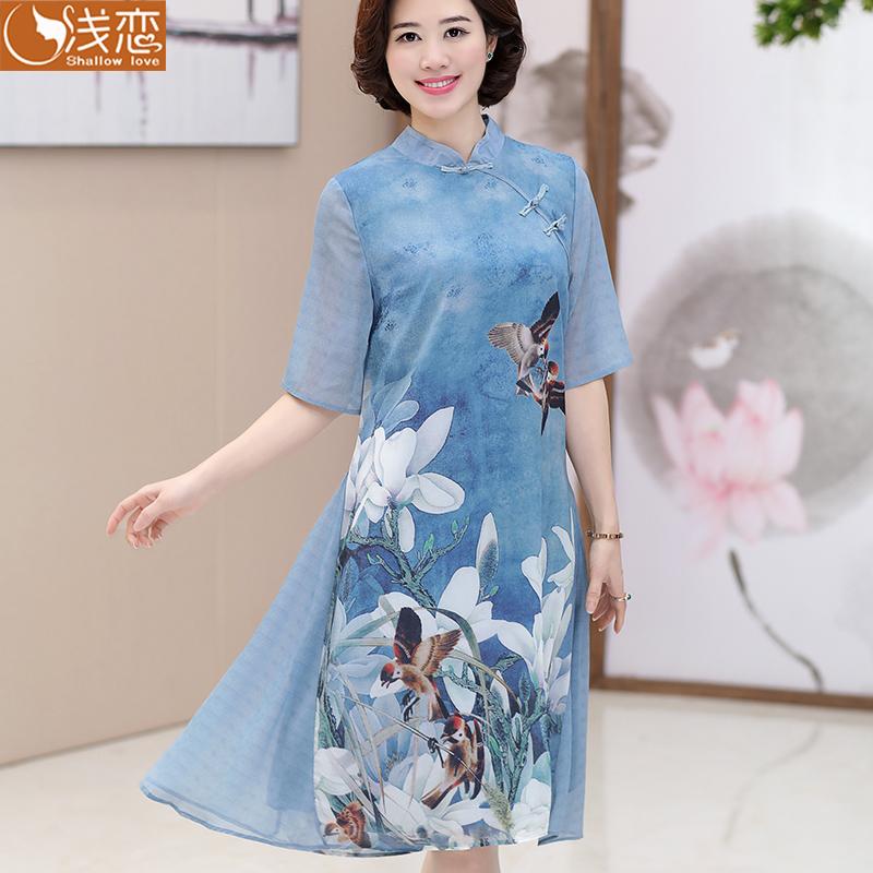 夏季中年妇女装连衣裙夏天民族风中长款复古裙子中老年妈妈装夏装