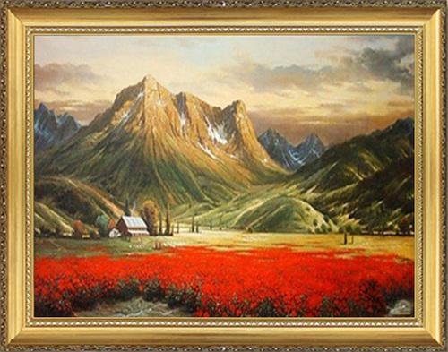 纯手绘油画风景欧式客厅装饰画 走廊过道办公室玄关挂画背有靠山