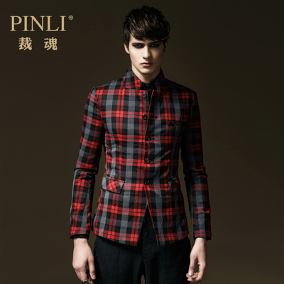PINLI product to cut the soul 2014 spring new Korean men's fashion Slim plaid blazer 7150