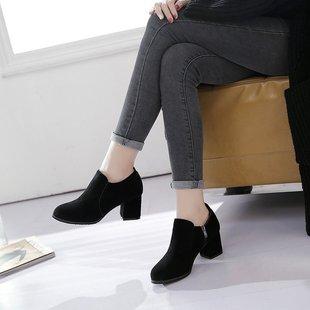 2017秋季欧美圆头侧拉链单鞋百搭黑色深口高跟鞋磨砂粗跟女鞋