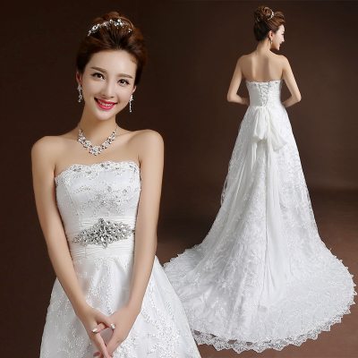2014 new fashion wedding dress Korean version of The Princess Bride Lace Bra small tail Slim was thin autumn and winter