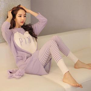 2015秋冬季韩版紫色桃心常规PINK女生纯棉睡衣长袖家居服