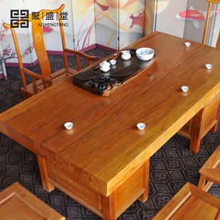 Plate slab table wood slab table wood yellow pear wood tea tables desks Dining tables wood ju Sheng Tang