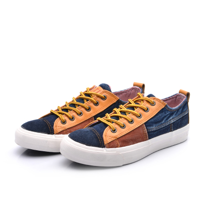 Akai Di new stitching washed denim flat shoes with low to help couples canvas shoes casual brand in Europe and America