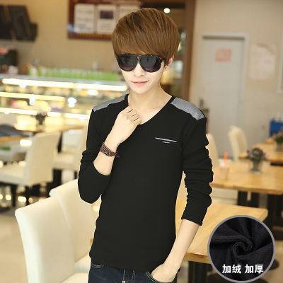 2014 new winter men's warm thick velvet men's long-sleeved V-neck t-shirt shirt bottoming shirt body repair