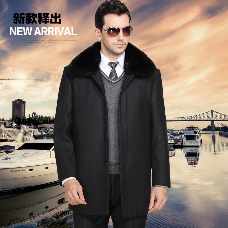 爸爸装毛呢大衣男 冬季新款羊毛外套男加绒加厚 中老年男装带毛领