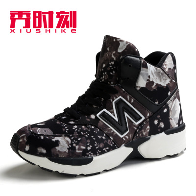Show time 2014 autumn and winter personality Korean N word high shoes sports shoes women increased within the high state of shoes flowers