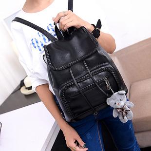 双肩包女韩版学生书包2017新款时尚百搭包包女士背包软皮旅行女包