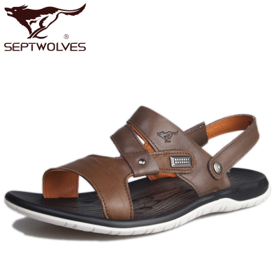 Seven male wolf genuine cowhide leather sandals 2014 new summer breathable open-toed sandals tide male Shi Xia