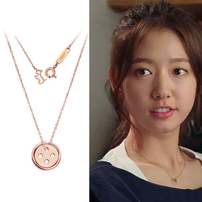Pinocchio Park Shin Hye same paragraph lucky coin necklace female short paragraph clavicle chain rose gold fashion style D2407