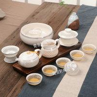 陶瓷功夫茶具精品茶具手抓壶茶具青花瓷镂空玲珑茶具茶海茶杯包邮
