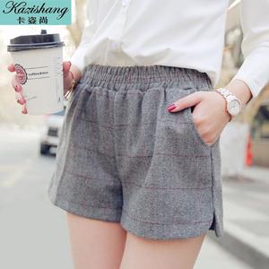 卡姿尚2015冬季新款韩版毛呢短裤女士格子显瘦呢子短裤打底靴裤女
