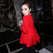 One hall 2014 Europe European goods early autumn tide T-shirt women's tide western style version of A doll into skirt fashion red jacket