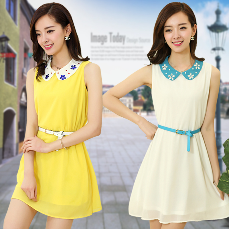 2014 new Korean fashion doll collar plus size fat MM thin chiffon sundresses for summer