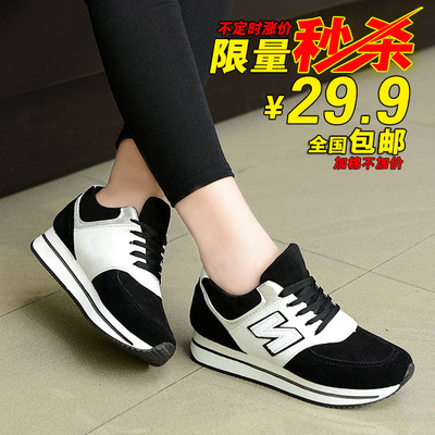 Increase in the autumn and winter plus velvet padded shoes women shoes Korean version of the muffin bottom NB Forrest Gump shoes sneakers n letters