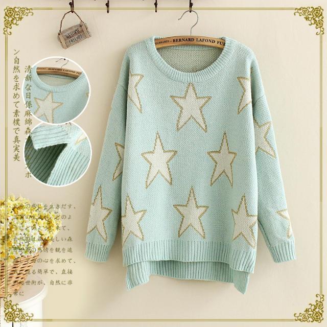 14 свежий Осенний новый свитер девушка корейской версии Джокер потерять разделить пятиконечная узкие рукава вязать свитер