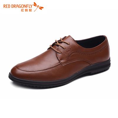 红蜻蜓男鞋系带夏季正品真皮男士商务休闲皮鞋透气一脚蹬懒人鞋