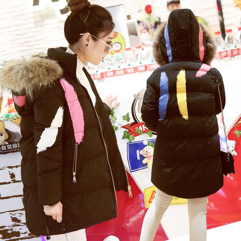 随启中长款棉衣女2016新季韩版装毛领棉袄面包服码学生秋冬外套女