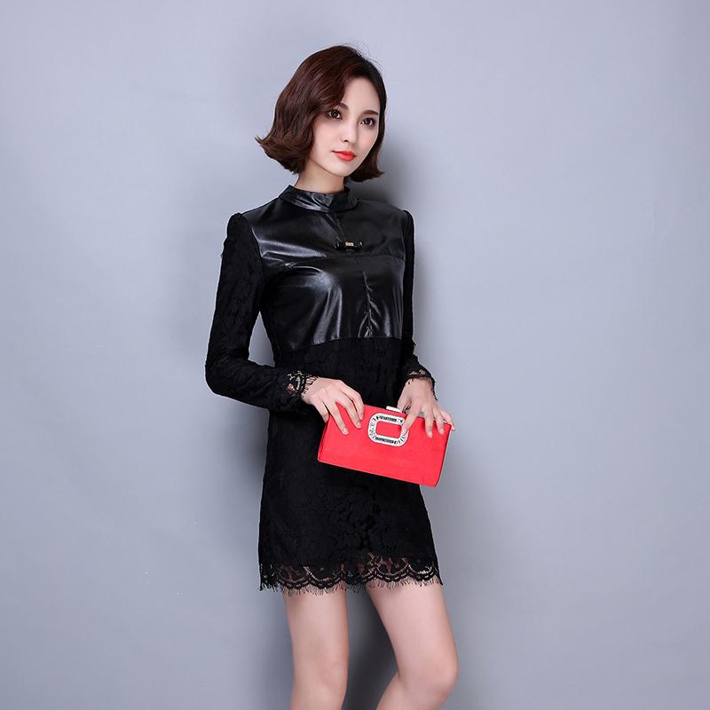 打底连衣裙_连衣裙冬中长款大码宽松显瘦蕾丝衫加绒加厚T恤长袖上衣打底衫女