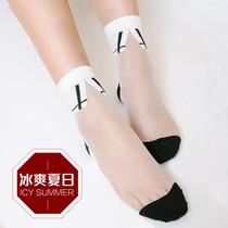 夏季短袜女薄款黑色透明隐形四季纯棉脚防勾丝底棉底丝袜黑色丝袜