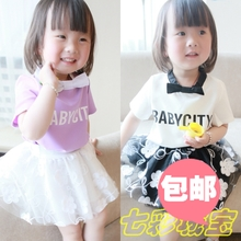 Beibei city the new summer 2015, a 1234 - year - old girls fashion women T-shirt in Europe and the small sweet wind skirt children's coat
