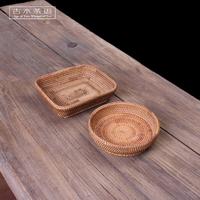 客厅干果盘欧式创意水果盘手饰品首饰藤编收纳糖果盒筛子茶具配件