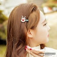 韩国进口发饰 OKBA正品时尚甜美 新款可爱圣诞鹿边夹刘海夹鸭嘴夹