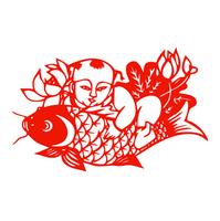 福娃送鱼福字剪纸新年货贴纸春节日喜庆窗花不干胶玻璃装饰贴画