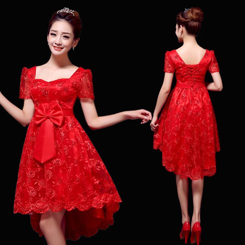 2014新款冬季新娘结婚敬酒服高腰孕妇礼服长款晚礼服大码短款红色