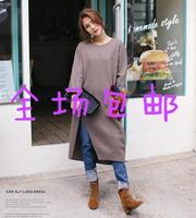 15韩国代购冬季狐狸口袋开叉羊毛针织连衣裙中长款长袖宽松加厚女