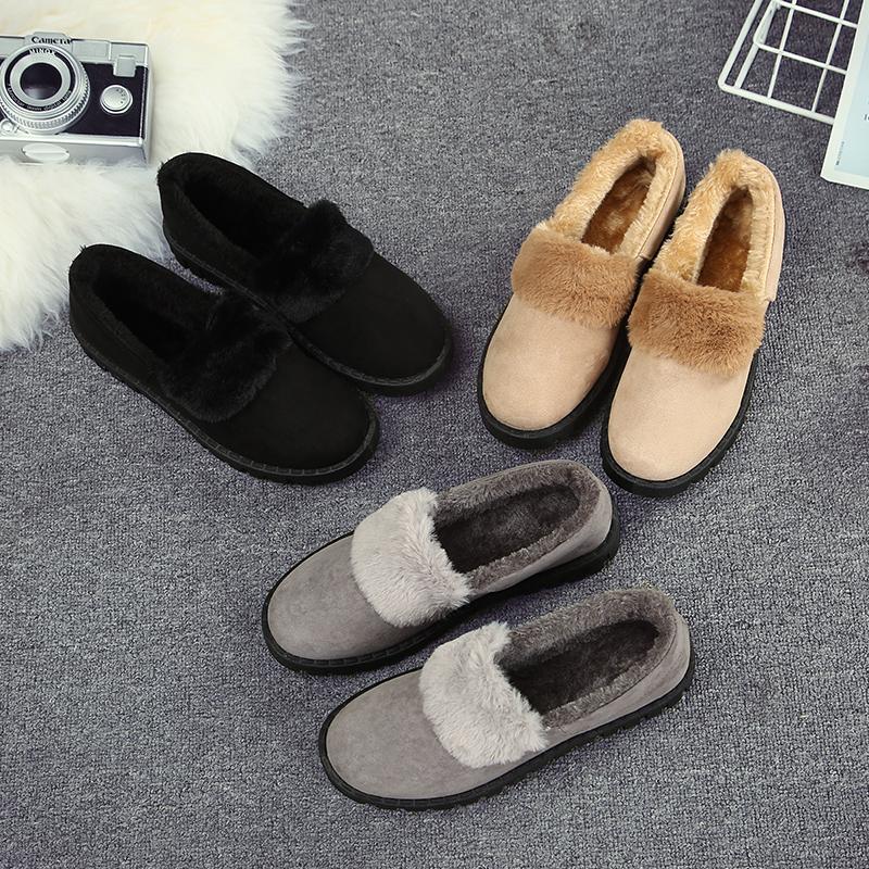 秋冬季加绒雪地靴女2016新款韩版短靴平底防滑豆豆鞋月子鞋毛毛鞋