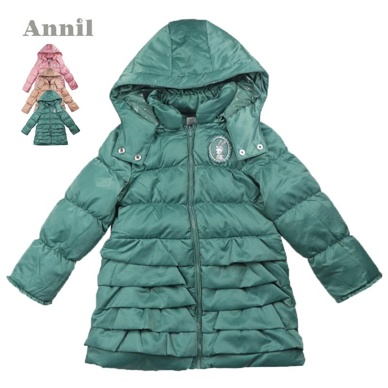 安奈儿女童装 2014年新款中长款中厚羽绒服AG445493专柜正品特价