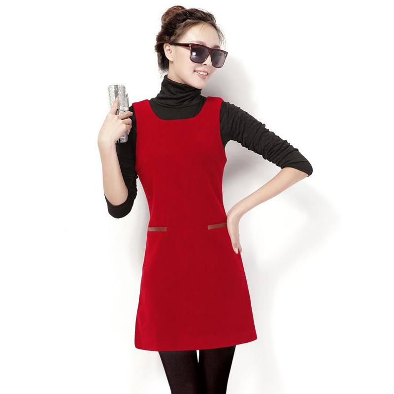 【天天特价】 新款女装无袖背心裙韩版冬季大码毛呢打底连衣裙