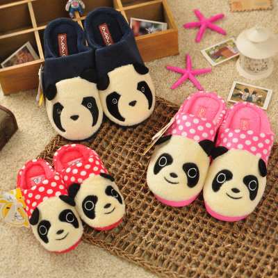 2014 winter new round little panda female big boy child home cotton slippers plush slippers paternity slip surface