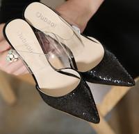 2015秋季新款高跟鞋拖鞋欧美大牌尖头鞋细跟透明亮片凉鞋女凉拖鞋