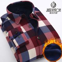 冬季新款格子保暖衬衫男长袖 加绒复合衬衣中老年印花加厚爸爸装