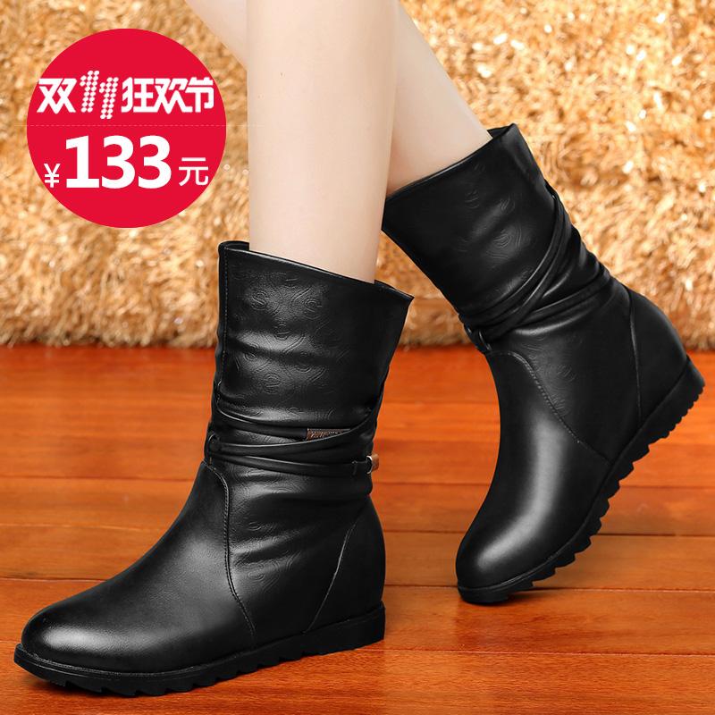 2016秋冬季新款女鞋子内增高春秋单靴平底女靴子马丁靴英伦风短靴