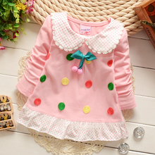 123 - year - old girl children's wear in the spring of the new 7-9 11 months baby girls long-sleeved T-shirt children head top 8