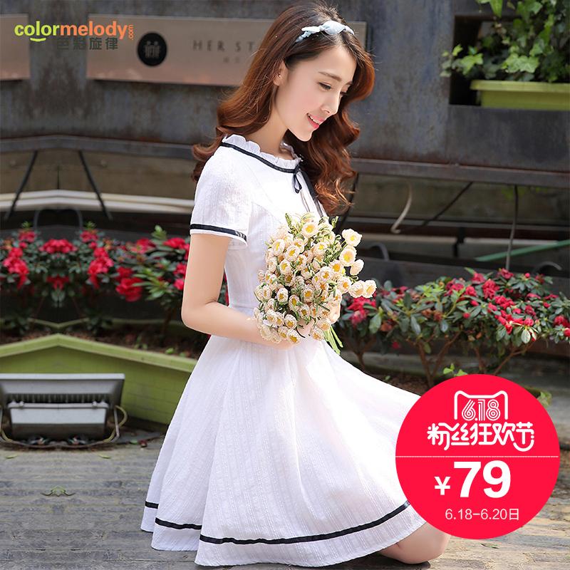 少女连衣裙2016夏装新款韩版中长款学院风小清新短袖学生A字裙子