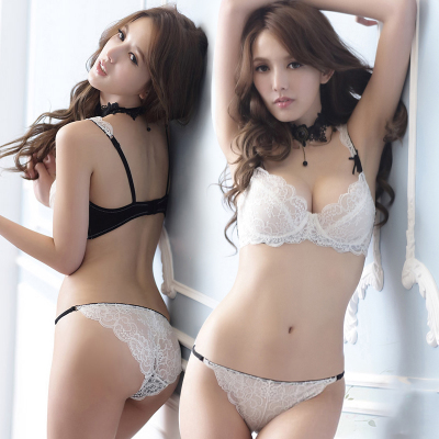 Europe and the United States ultra-thin bra, net yarn completely transparent underwear woman deep V sexy lace together suits